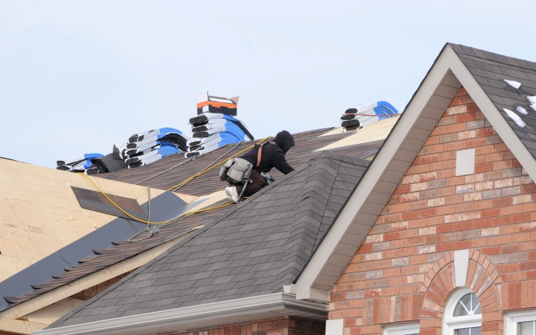 Roof repair after a storm at a house in Palos Park, Illinois