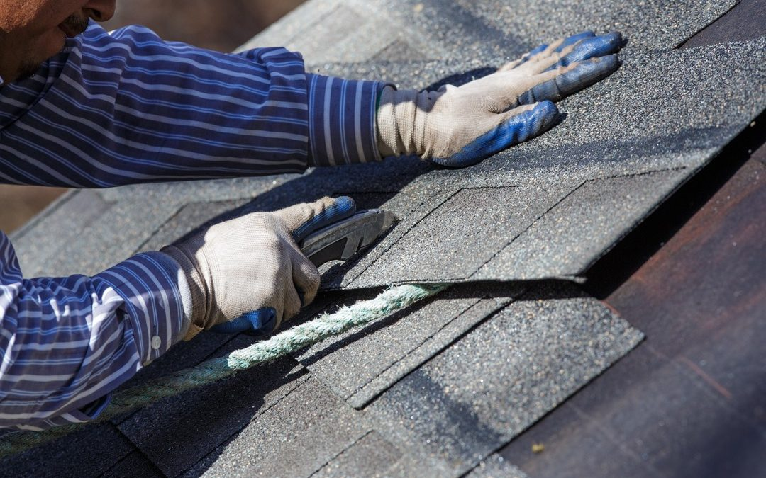 Roof repair at a house in Evergreen Park, Illinois