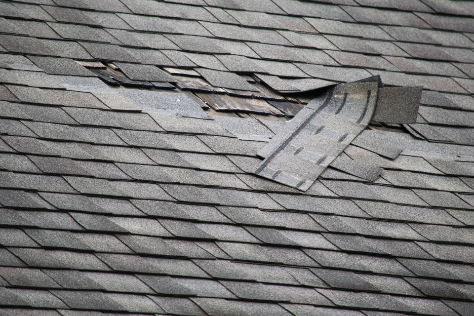 Roof repair at a house in Schaumburg, Illinois